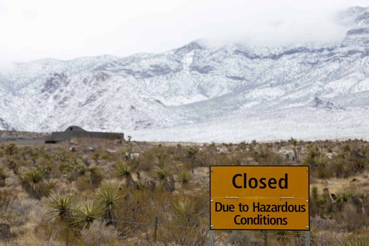 The Red Rock Scenic Loop is closed due to winter weather at Red Rock National Conservation Area ...