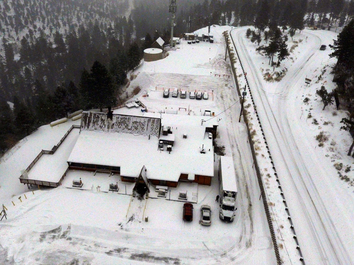 Snow covered The Charleston Lodge is seen, on Monday, Jan. 25, 2021, in Mount Charleston. (Bizu ...