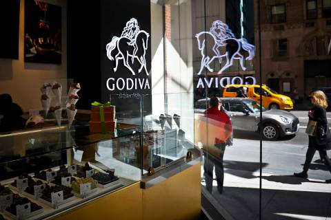 In this April 16, 2019 photo, a display of chocolate treats is displayed at Godiva's cafe in Ne ...