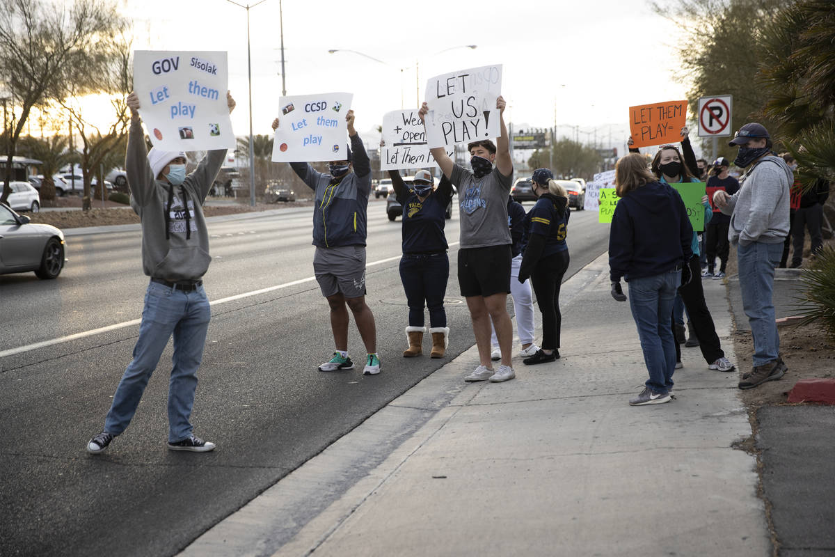 People protest Clark County School District's decision to cancel winter and fall sports seasons ...