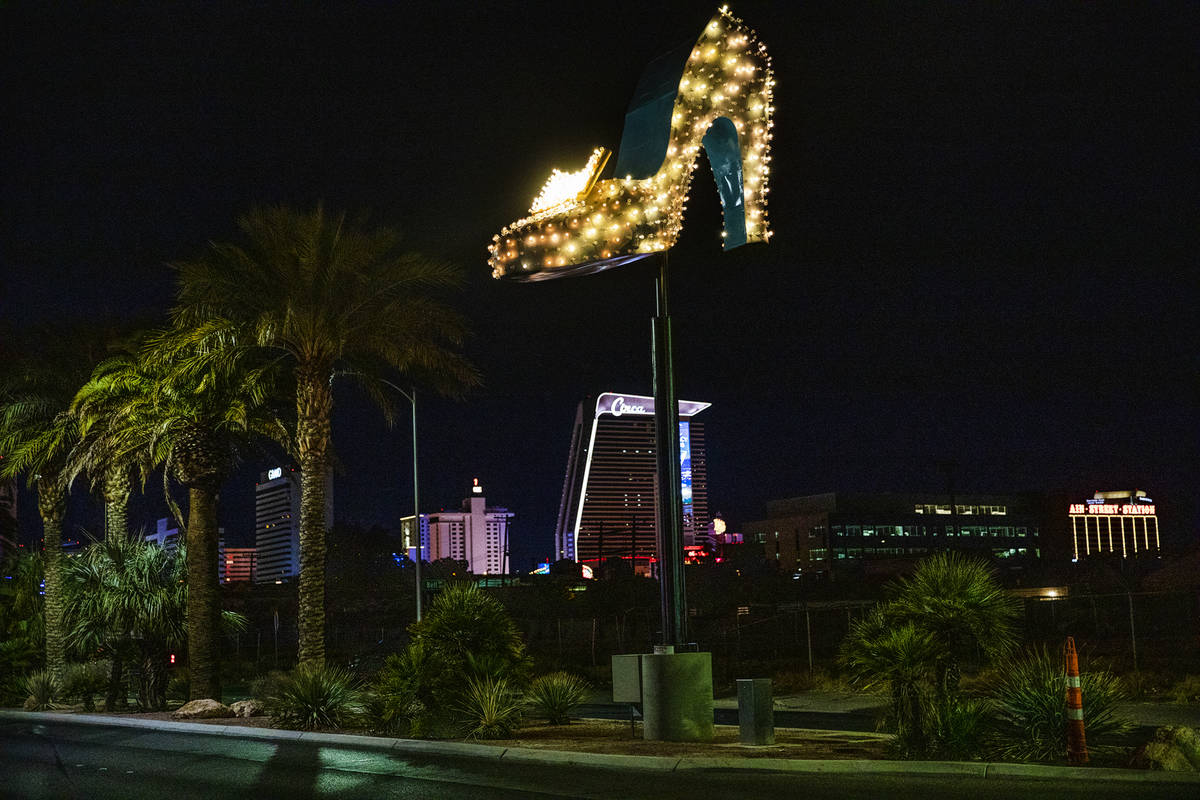 The restored neon sign for The Silver Slipper Casino on Las Vegas Boulevard in Las Vegas, Thurs ...
