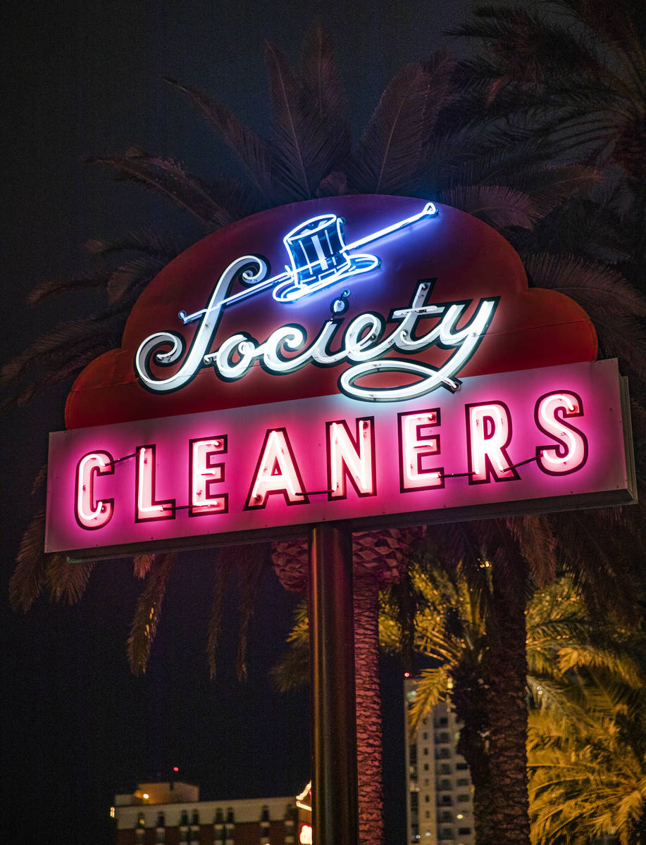 The restored neon sign from Society Cleaners on Las Vegas Boulevard in Las Vegas, Thursday, Jan ...