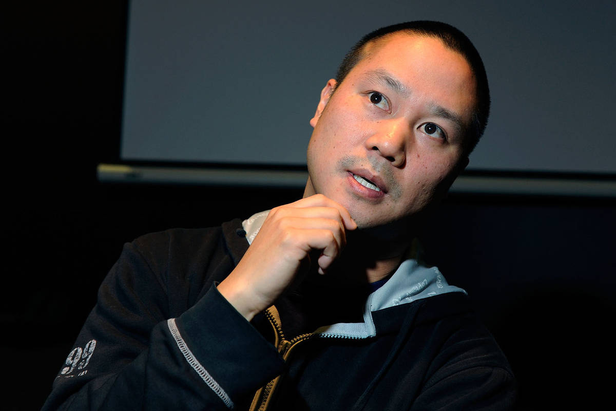 Tony Hsieh gestures during an interview before the start of the LaunchUp Las Vegas event at the ...