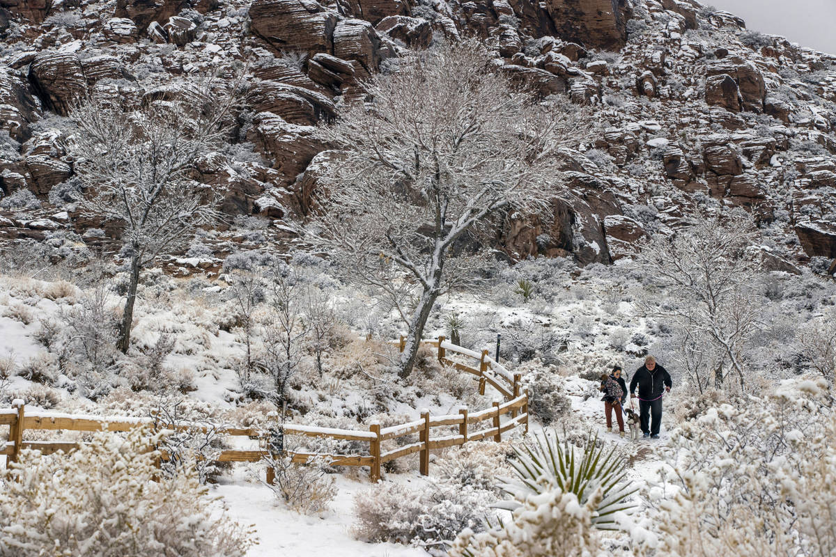 People and their dogs enjoy a walk in the snowfall about Calico Basin in the Red Rock Conservat ...