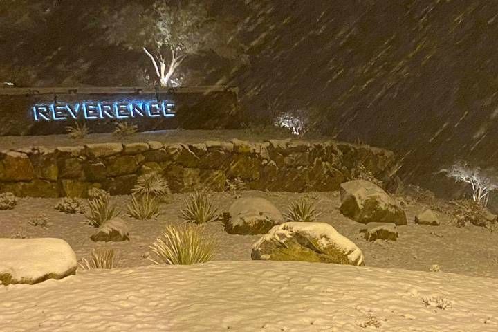 Snow covers portions of the entrance to Reverence subdivision at West Lake Mead at Clark County ...
