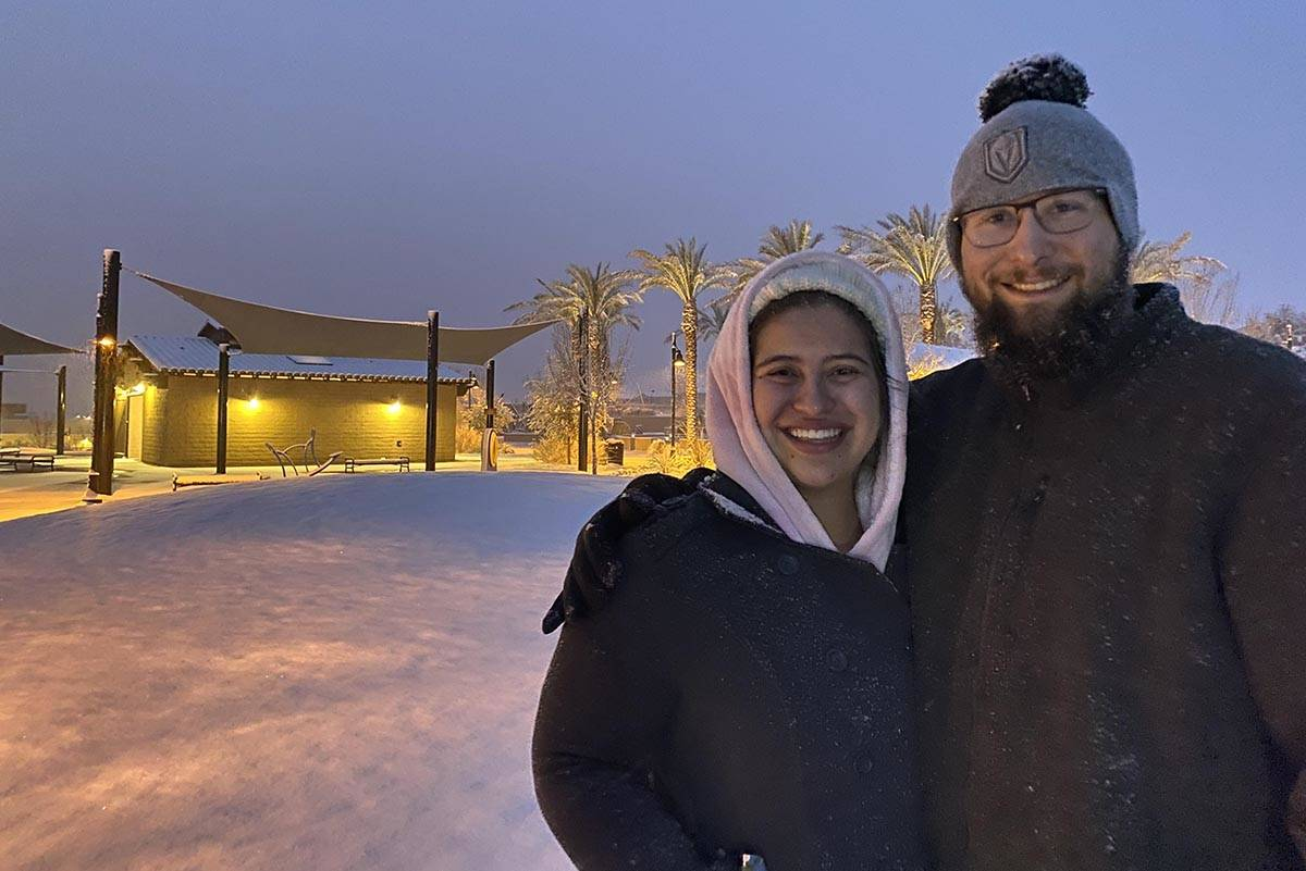 Brianna Rivera and Trent Allan went to Fox Hills Park just after dawn Tuesday, Jan. 26, 2021, t ...