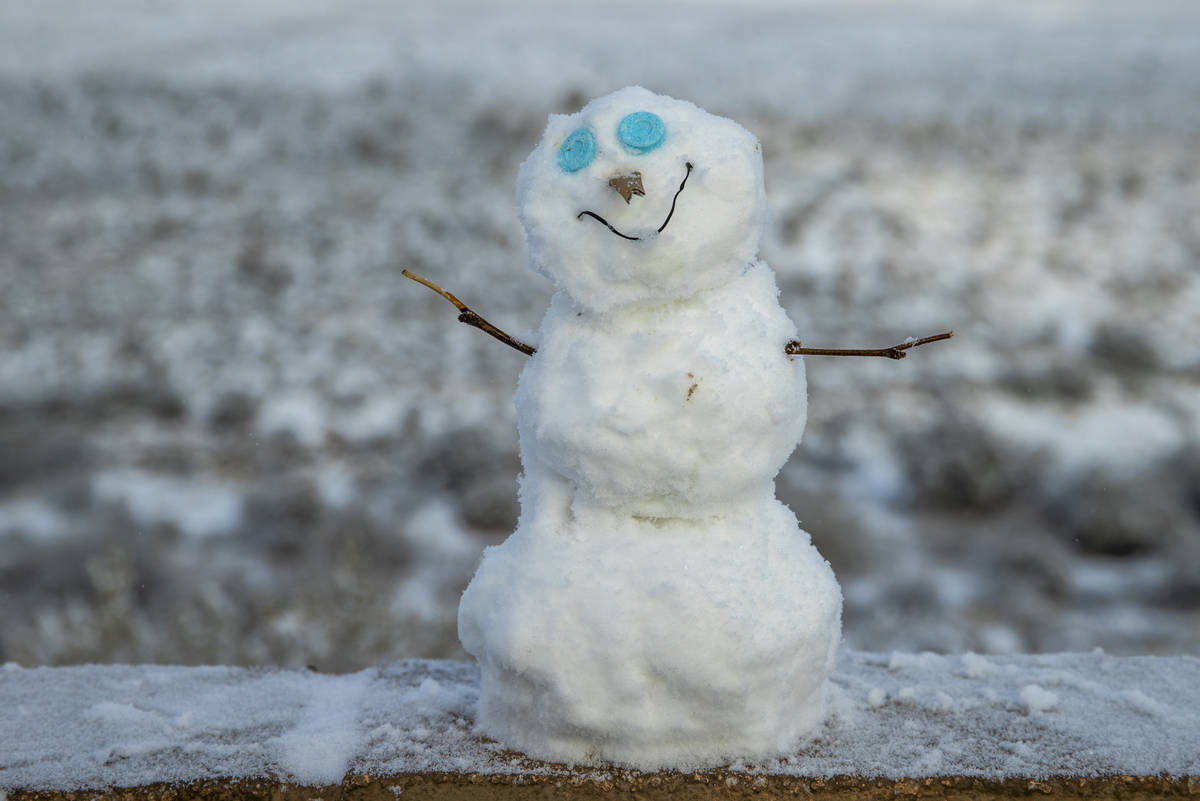 A little snowman at the overlook on a snowy day in the Red Rock Conservation Area on Tuesday, J ...