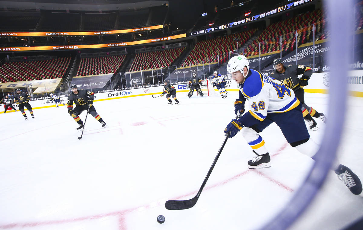 St. Louis Blues center Ivan Barbashev (49) skates with the puck during the first period of an N ...