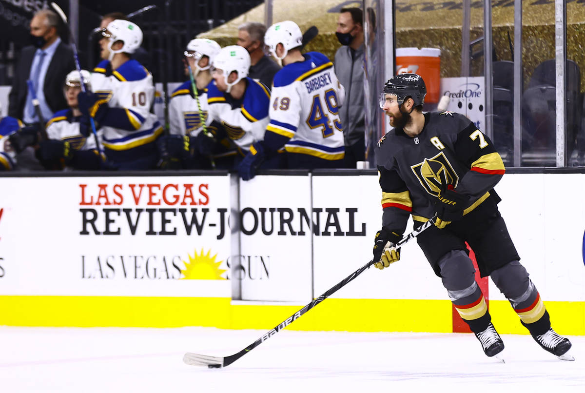 Golden Knights defenseman Alex Pietrangelo (7) skates with the puck while playing his former te ...