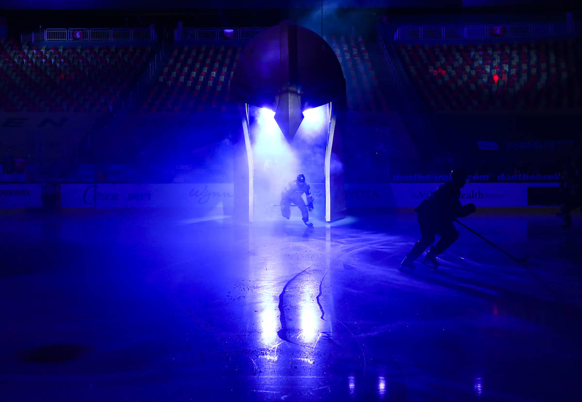 The Golden Knights take to the ice before playing the St. Louis Blues in an NHL hockey game at ...
