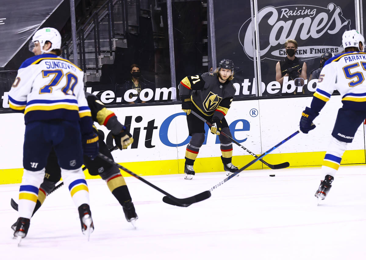 Golden Knights center William Karlsson (71) looks to pass the puck during the second period of ...
