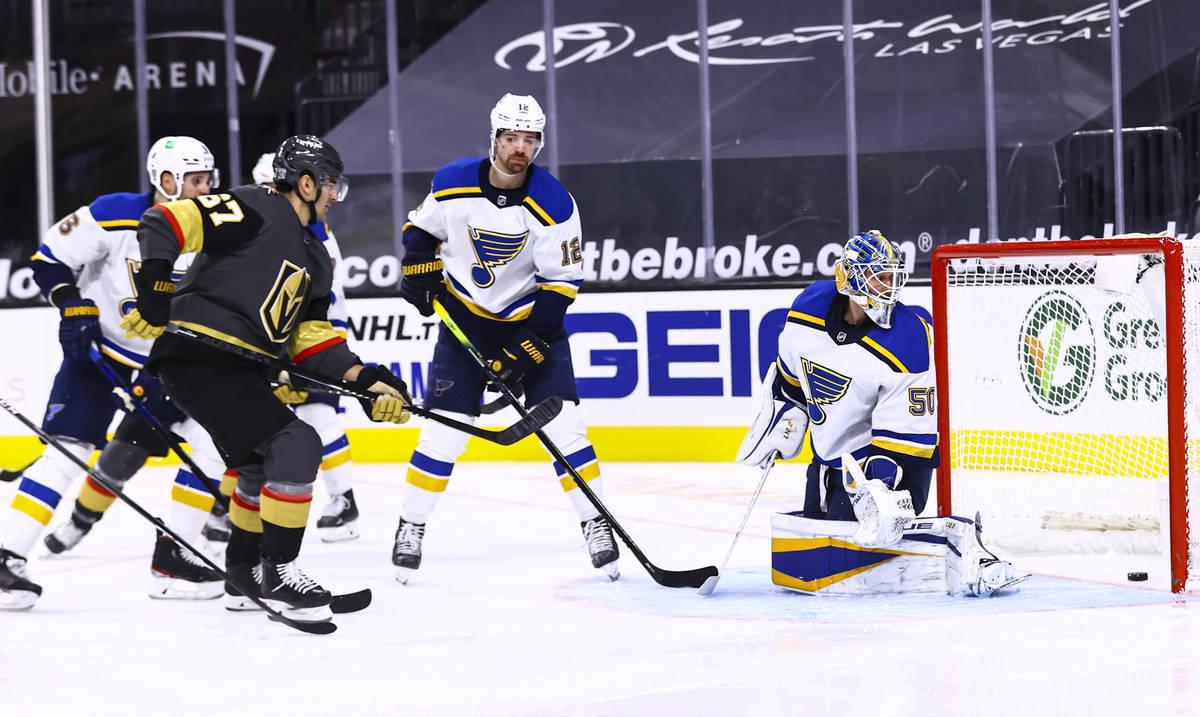 Golden Knights left wing Max Pacioretty (67) scores against St. Louis Blues goaltender Jordan B ...