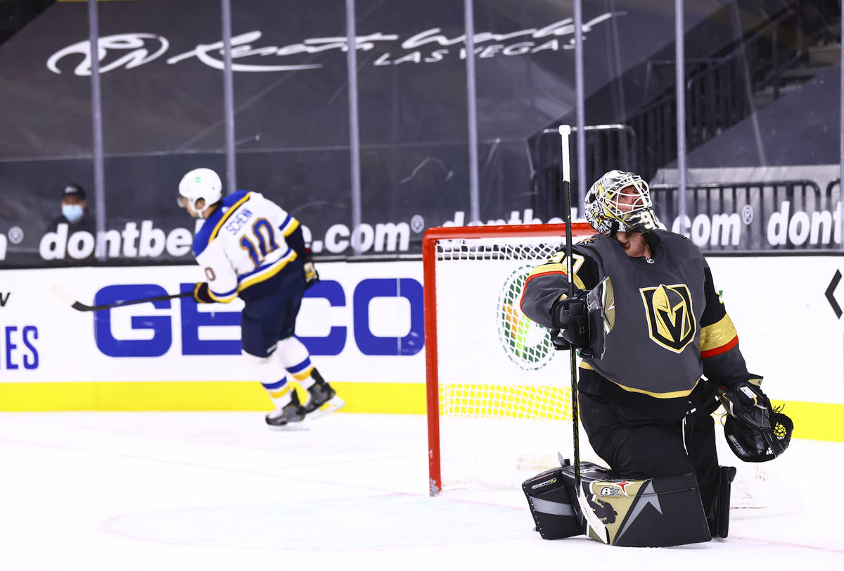 Golden Knights goaltender Robin Lehner (90) looks on after giving up a goal in a shootout to St ...