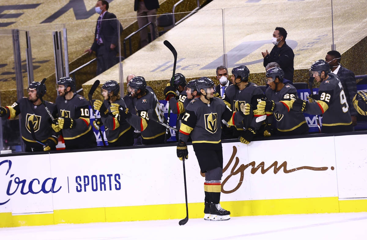 Golden Knights left wing Max Pacioretty (67) celebrates his hat trick during the third period o ...