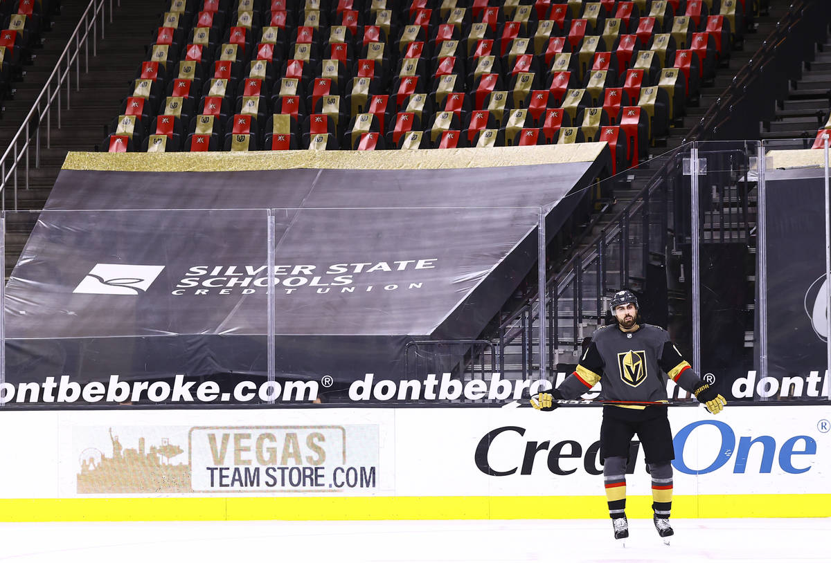 Golden Knights right wing Alex Tuch (89) looks on after his shootout attempt was blocked by St. ...