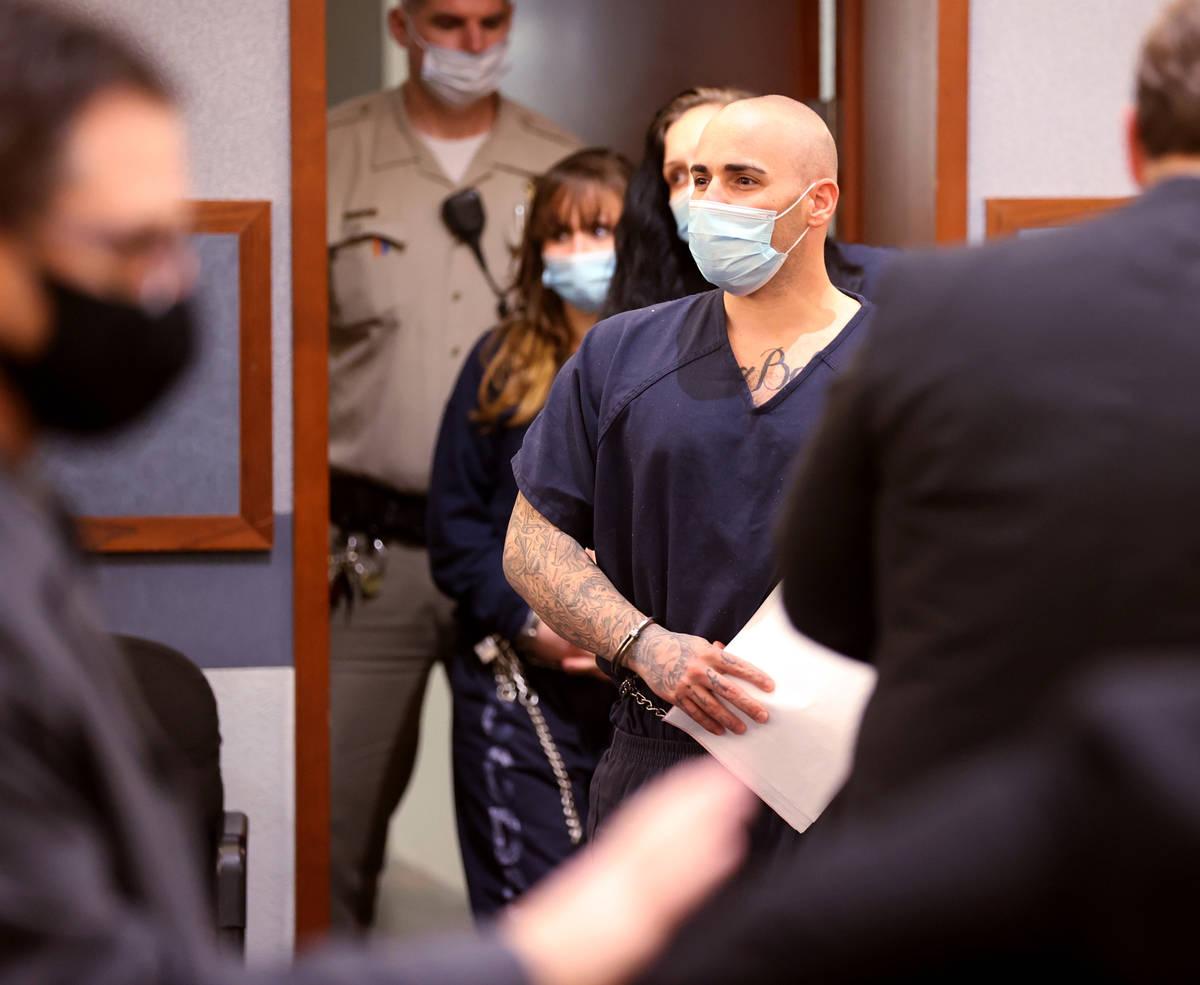 Ex-311 Boyz gang member Steven Gazlay arrives in court at the Regional Justice Center in Las Ve ...