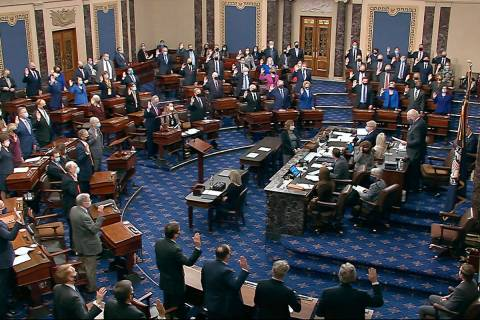 In this image from video, Sen. Patrick Leahy, D-Vt., the president pro tempore of the Senate, w ...
