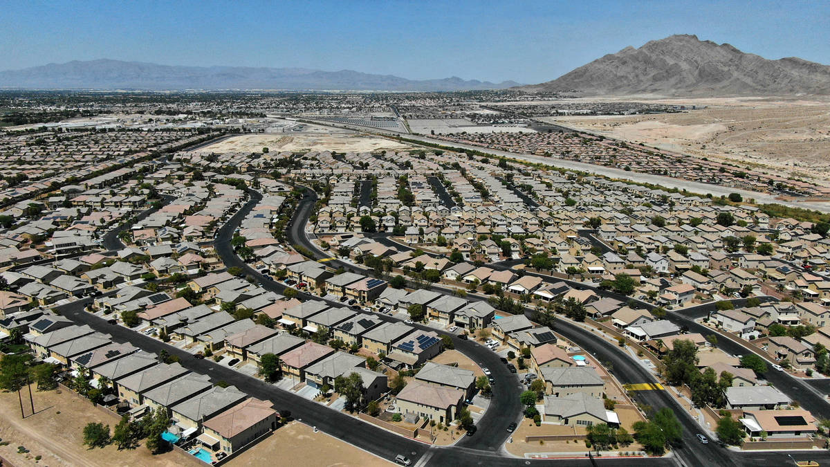 An aerial view of housing developments along Theme Road in east Las Vegas on Wednesday, August ...