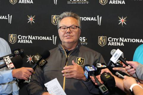Kelly McCrimmon, Golden Knights general manager, speaks to the media at City National Arena on ...