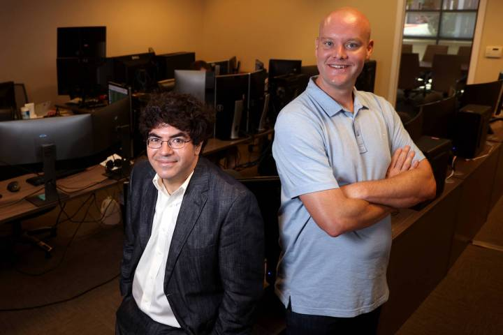 Ed Miller, left, and Matthew Davidow, co-founders of in-play betting company Deck Prism Sports, ...