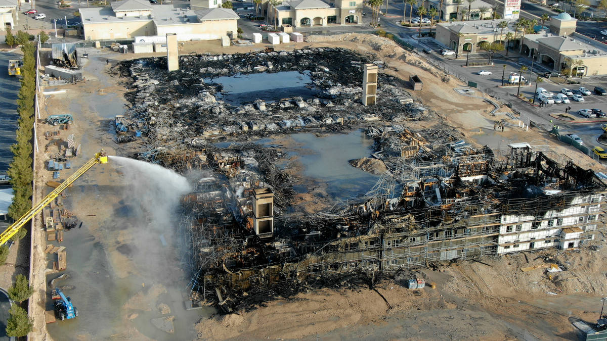 This Jan. 19, 2021, file photo shows an aerial view of the damage after an overnight fire at an ...