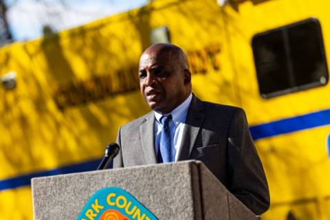 Dr. Fermin Leguen, Southern Nevada Health District acting chief health officer, speaks during a ...