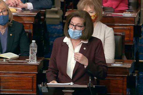 In this image from video, Sen. Catherine Cortez Masto, D-Nev., speaks as the Senate reconvenes ...