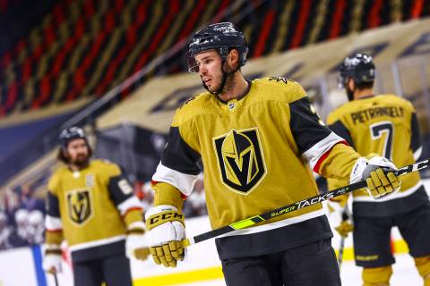 Golden Knights defenseman Brayden McNabb (3) looks on during the first period of an NHL hockey ...