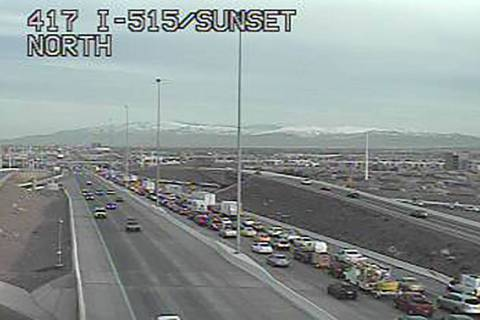 Traffic in the 215 Beltway in Henderson is nearly stopped about 7:30 a.m. Thursday; Jan. 28; 20 ...