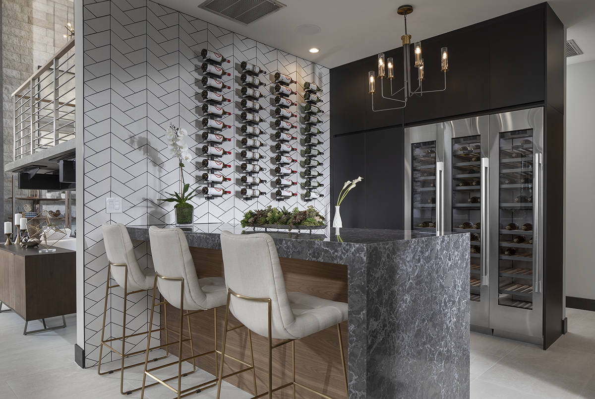 The home has a bar and wine walls. (Sunstate Realty)