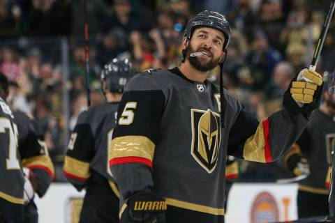 In this March 3, 2019, file photo, Golden Knights defenseman Deryk Engelland (5) looks out at t ...
