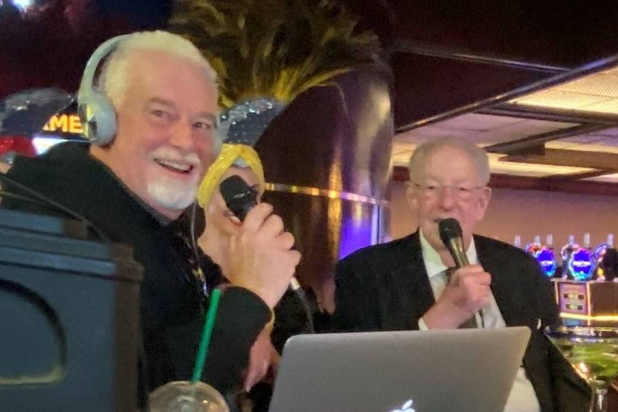 Radio host Brian Blessing, left, and Oscar Goodman are shown at Westgate's Superbook on Thursda ...