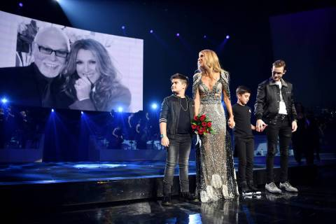 Celine Dion and her 18-year-old son Rene-Charles and 8-year-old twins Nelson and Eddy are at th ...