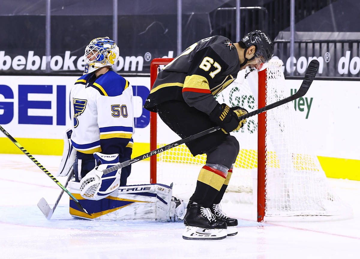 Golden Knights left wing Max Pacioretty (67) celebrates his goal against St. Louis Blues goalte ...