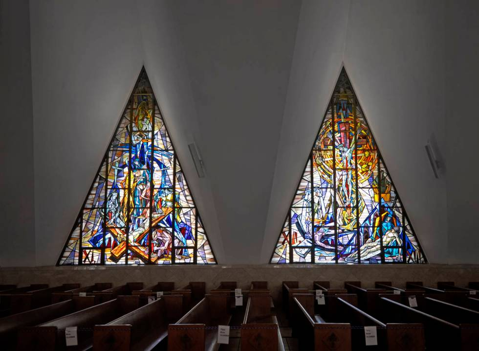 Light pours in through stained glass windows at Guardian Angel Cathedral, designed by renowned ...