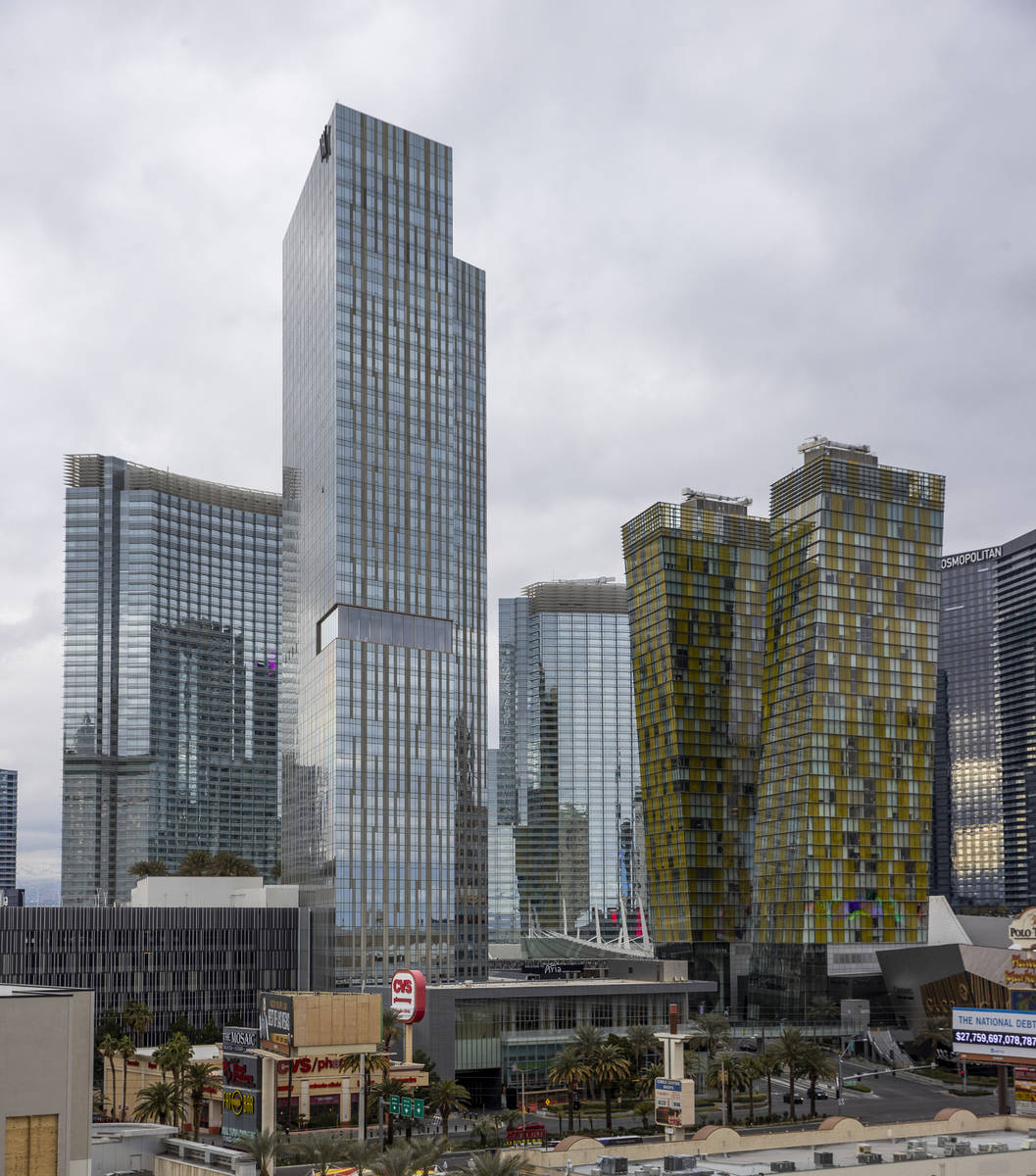 The Waldorf Astoria, center, and the Veer towers, right, are some of the condos about the Las V ...