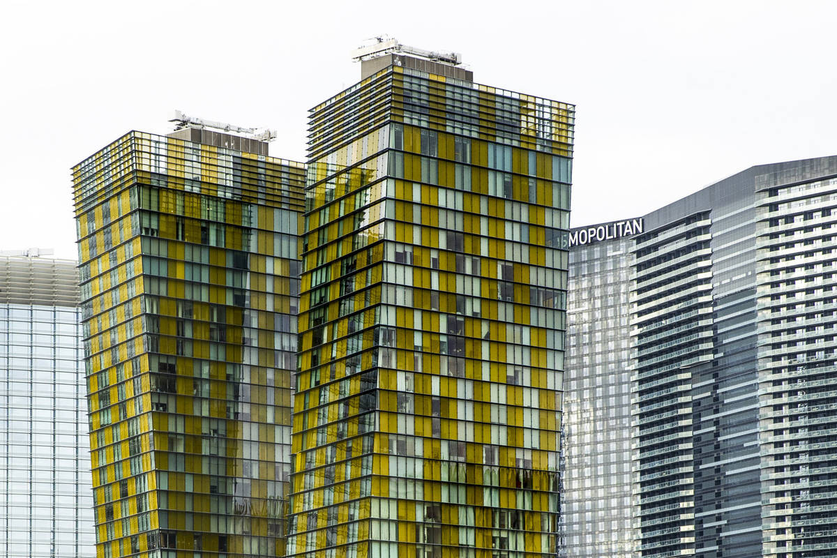 The Veer towers are some of the condos about the Las Vegas Strip on Tuesday, Jan. 26, 2021, in ...