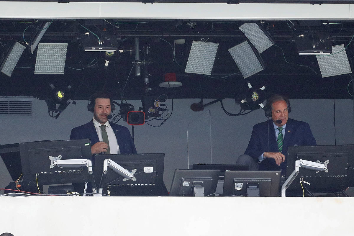 CBS broadcasters Tony Romo and Jim Nantz call the Los Angeles Chargers NFL game against the Kan ...