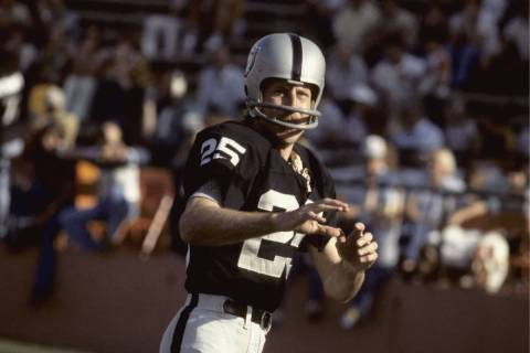 Wide receiver Fred Biletnikoff of the Oakland Raiders looks for a pass at the Oakland Coliseu ...