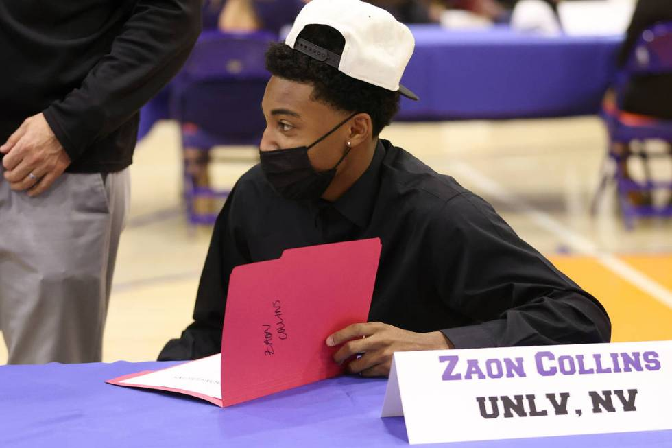 UNLV basketball commit Zaon Collins participates during a Signing Day ceremony at Bishop Gorman ...