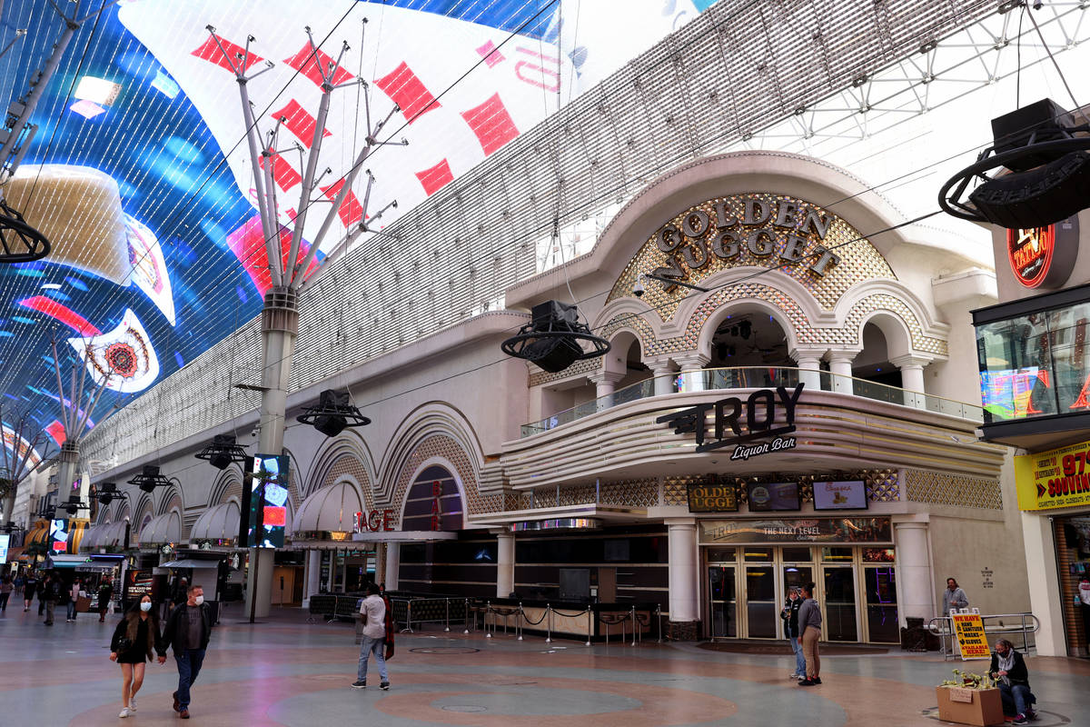 Golden Nugget in at the Fremont Street Experience in downtown Las Vegas Monday, Feb. 1, 2021. ( ...