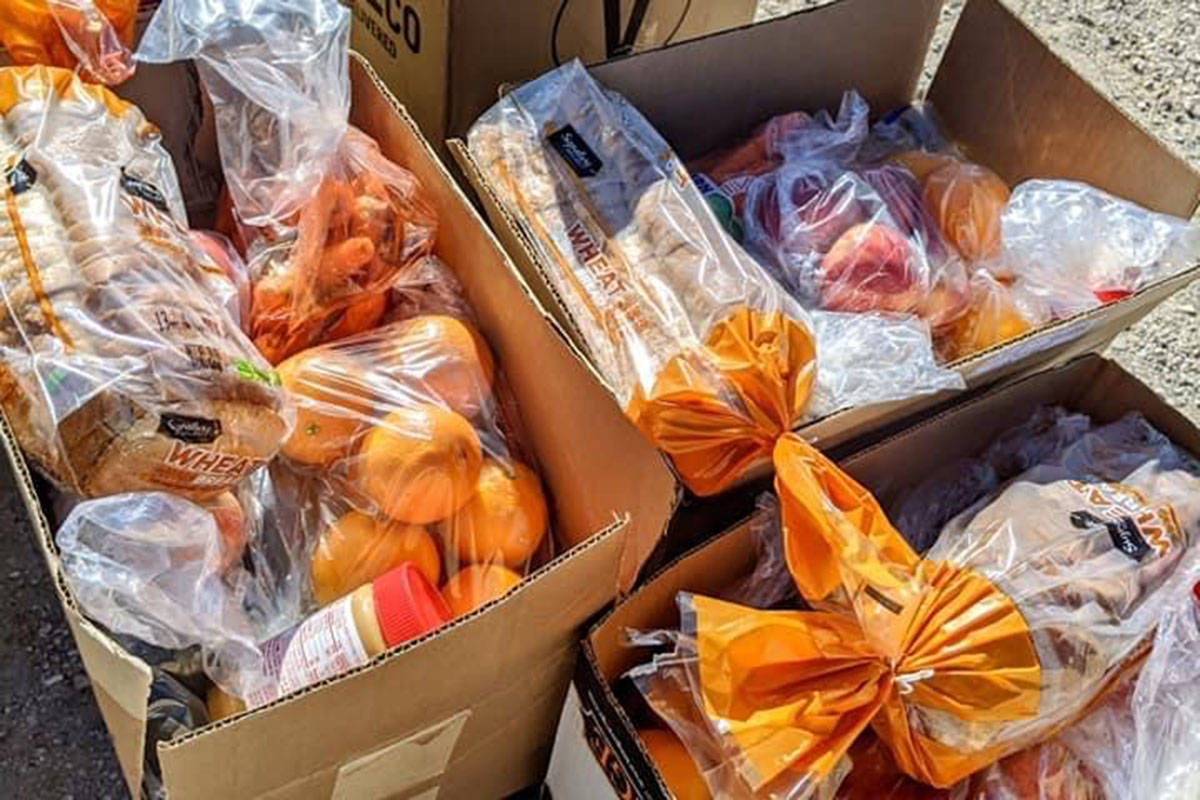 Some of the plant-based grocery boxes that were distributed by the LasVegan Food Bank on Jan. 2 ...
