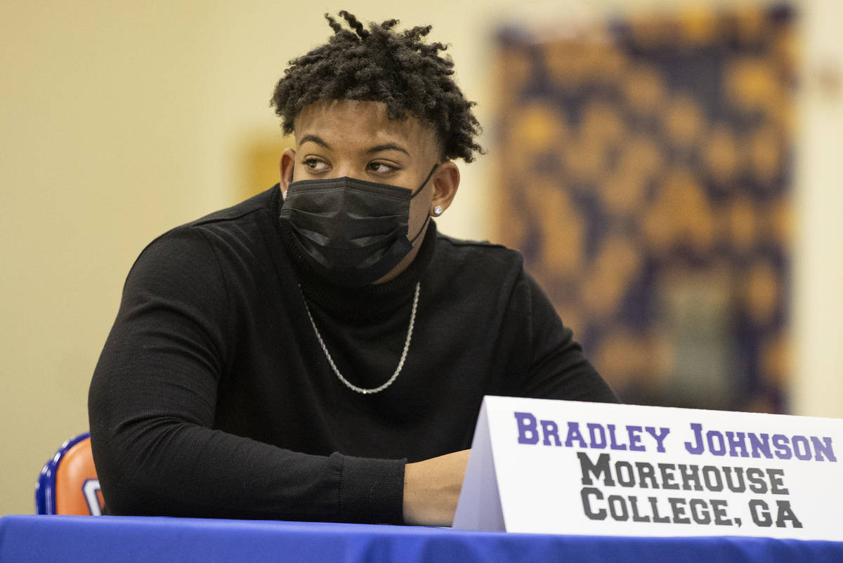 Football player Bradley Johnson, a Morehouse Collge commit, participates during a Signing day c ...