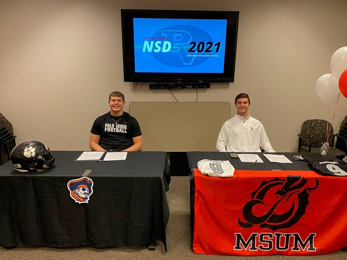 Palo Verde defensive lineman Tanner Vaughan (left) and kicker Zach Moore will be conference riv ...