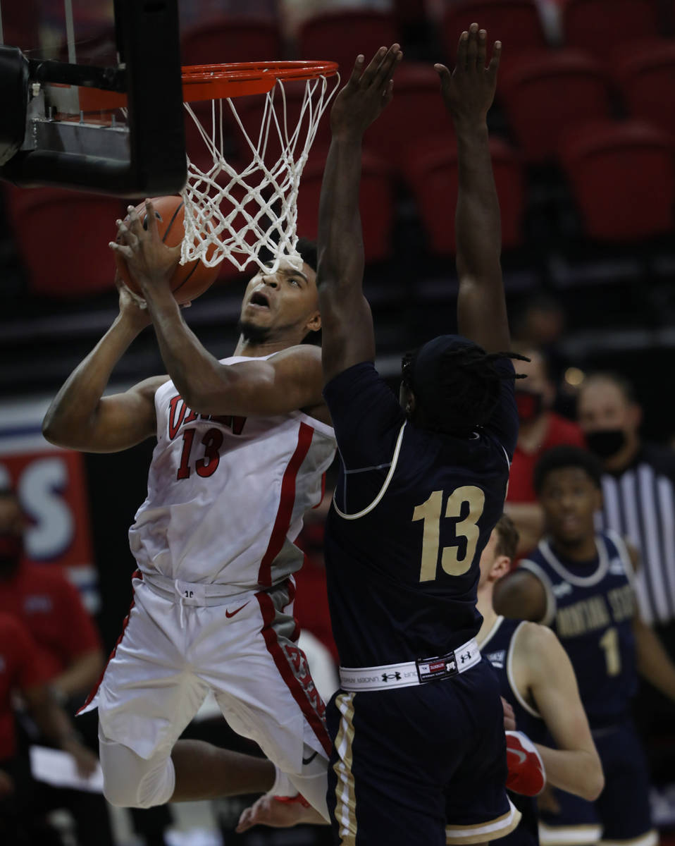 UNLV Rebels guard Bryce Hamilton (13) shoots the ball for a score against Montana State Bobcats ...