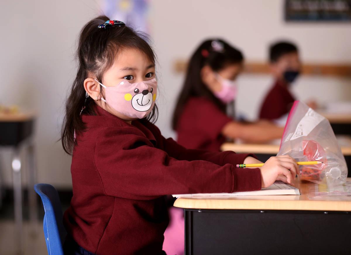 Maddie Lagunda, 6, in Tammy Schuster's kindergarten class during school at Coral Academy of Sci ...