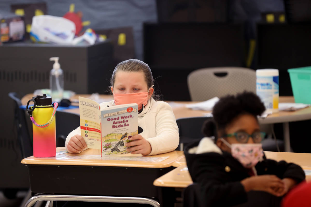 Ella Theodore, 8, during school at Coral Academy of Science Centennial Hills in Las Vegas Tuesd ...