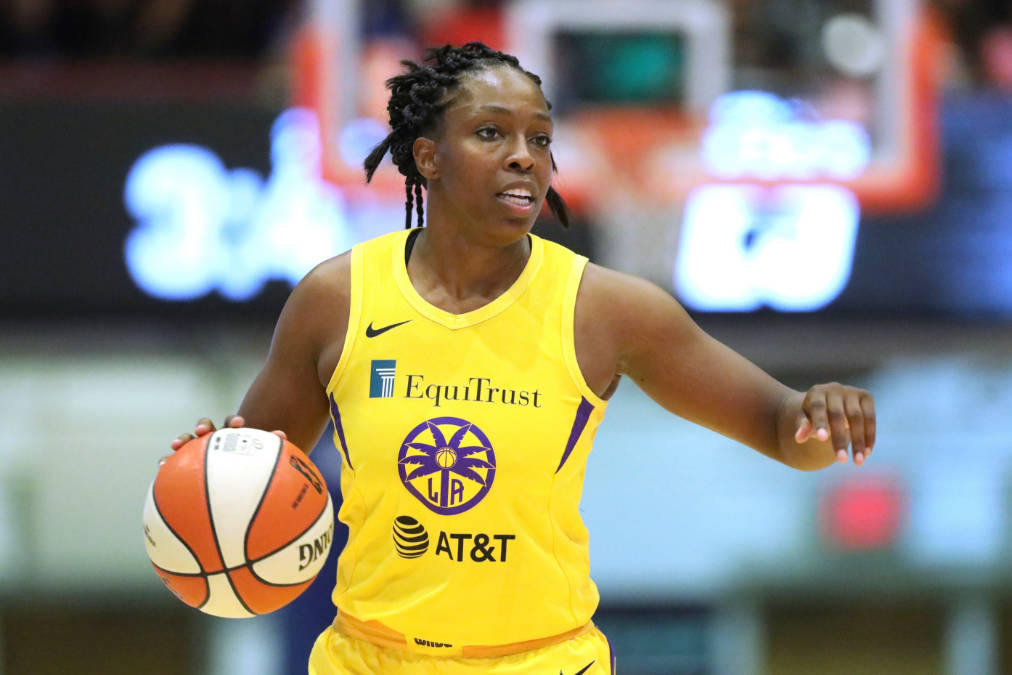 Los Angeles Sparks Chelsea Gray #12 in action against the New York Liberty during a WNBA basket ...