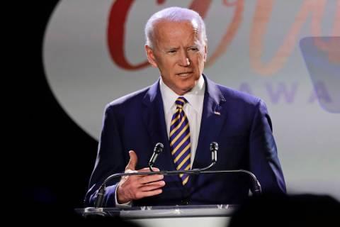 Joe Biden speaks at the Biden Courage Awards Tuesday. (AP Photo/Frank Franklin II)