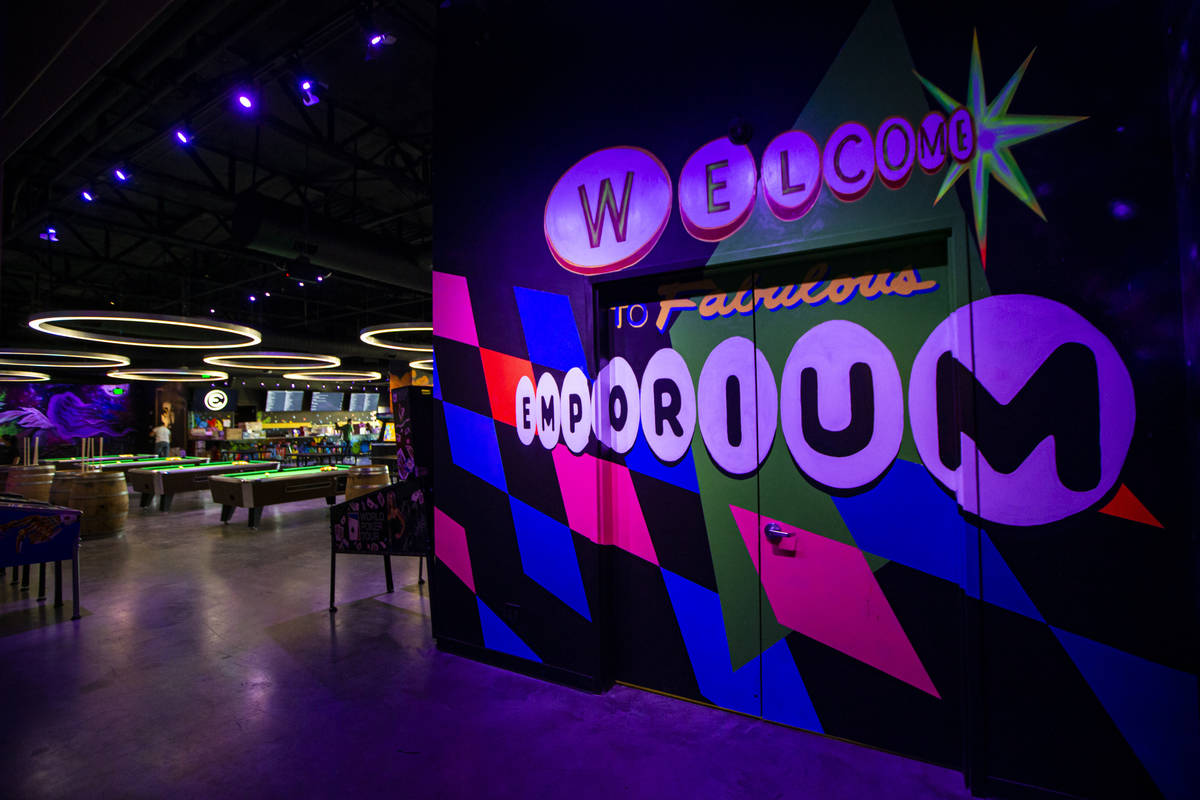 A view of second level entrance to the Emporium arcade bar at Area15 in Las Vegas on Thursday, ...